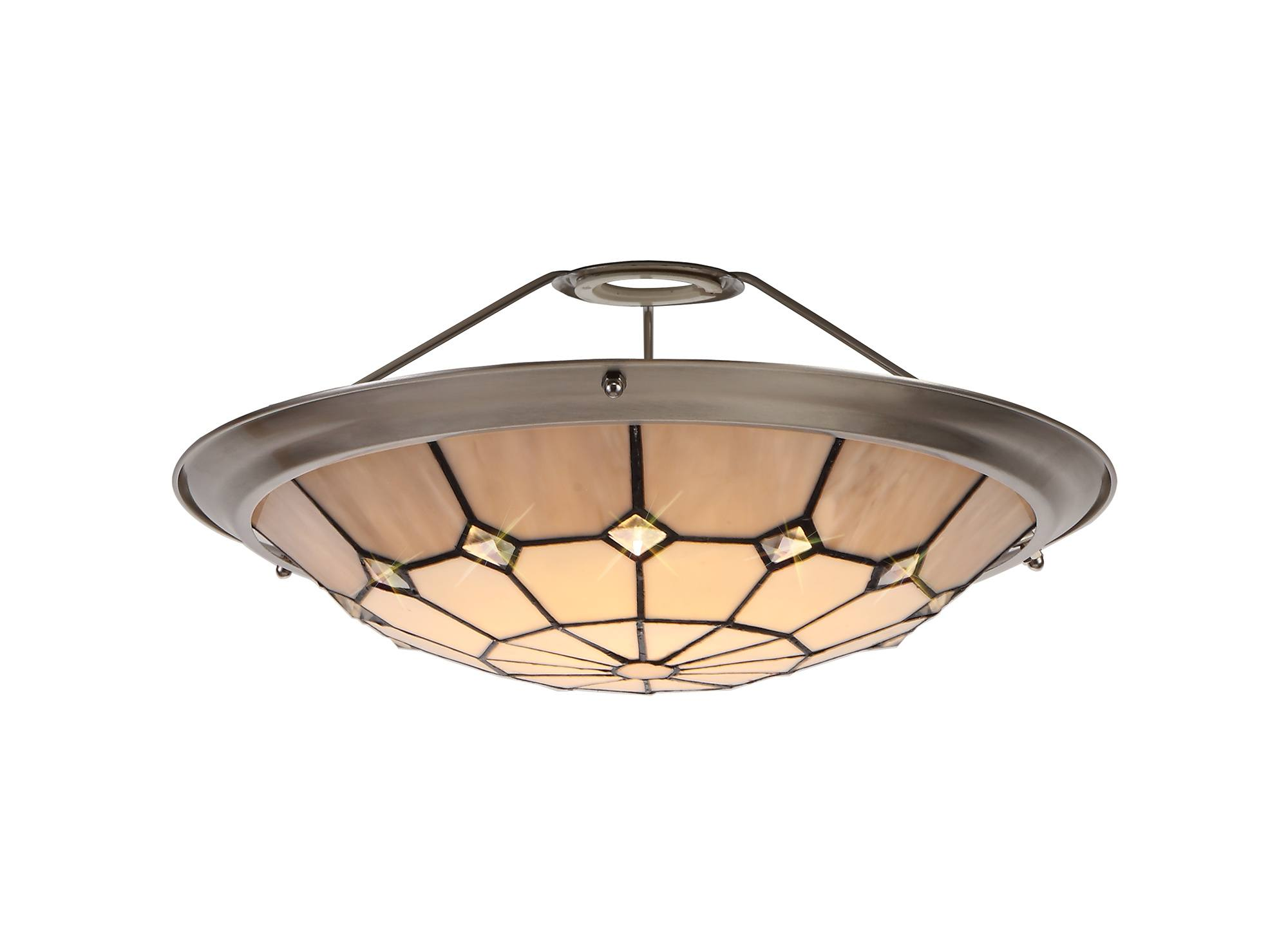 Tiff Tiffany 35cm Non Electric Uplighter Shade Cream Grey Crystal Centre Satin Nickel Brass Trim Lux Lighting